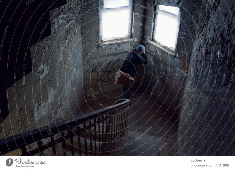 Human being Man Loneliness House (Residential Structure) Adults Wall (building) Lanes & trails Architecture Wall (barrier) Time Stairs Photography Transience Uniqueness Adventure Curiosity