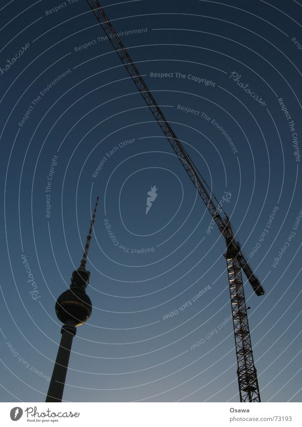 Sky Blue Berlin Concrete Large Round Vantage point Construction site Tower Steel Weight Beautiful weather Build Crane Antenna