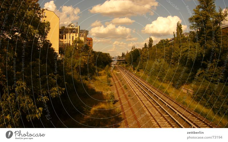 Summer Clouds Railroad Logistics Railroad tracks Berlin TV Tower Rachis Commuter trains August
