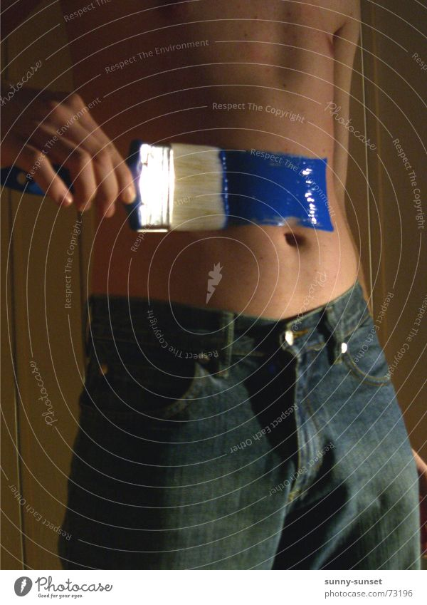 Blue Colour Dye Jeans Craft (trade) Stomach Paintbrush Navel Paints and varnish Bodypainting
