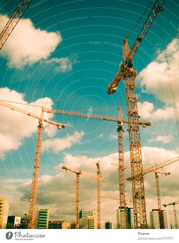 Sky Clouds Berlin Construction site Steel Build Crane Prefab construction Shopping malls Wire cable Half-timbered facade Outrigger