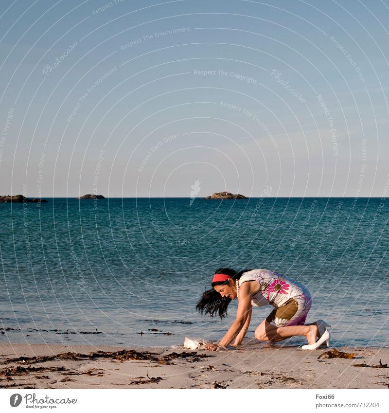 Human being Woman Beautiful Water Summer Ocean Joy Beach Adults Life Feminine Coast Stone Feasts & Celebrations Sand Party
