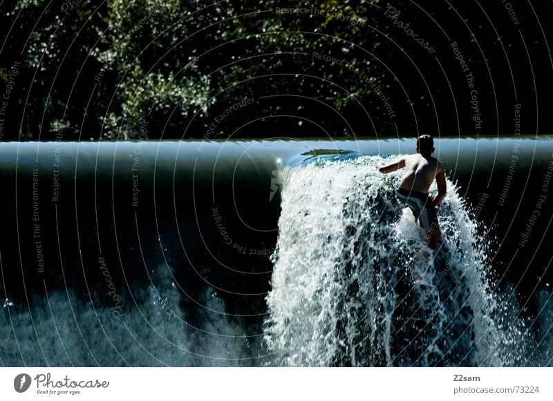 Isar Jumper IV Summer White crest Body of water Bavaria Munich Together 2 Water Boy (child) Blue Level Above River Movement Dynamics Stride Pike