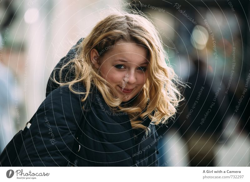 sass Human being Feminine Young woman Youth (Young adults) 1 13 - 18 years Child Brash Beautiful Blonde Happy Friendliness Colour photo Exterior shot