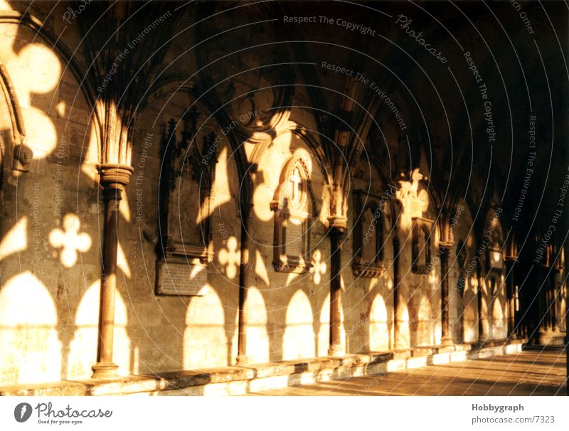 Shadow plays at Salisbury Cathedral England Light Moody House of worship Back Religion and faith Corridor