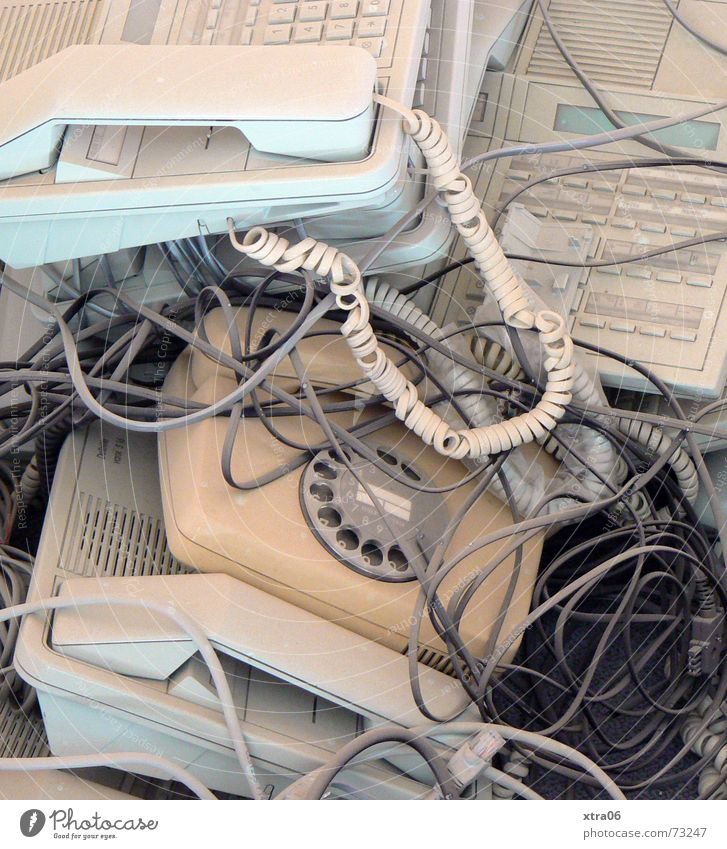 Old Broken Clock face String Telephone Cable Trash Services Ancient Telecommunications Second-hand Scrap metal Receiver Agency Headquarters Gadget