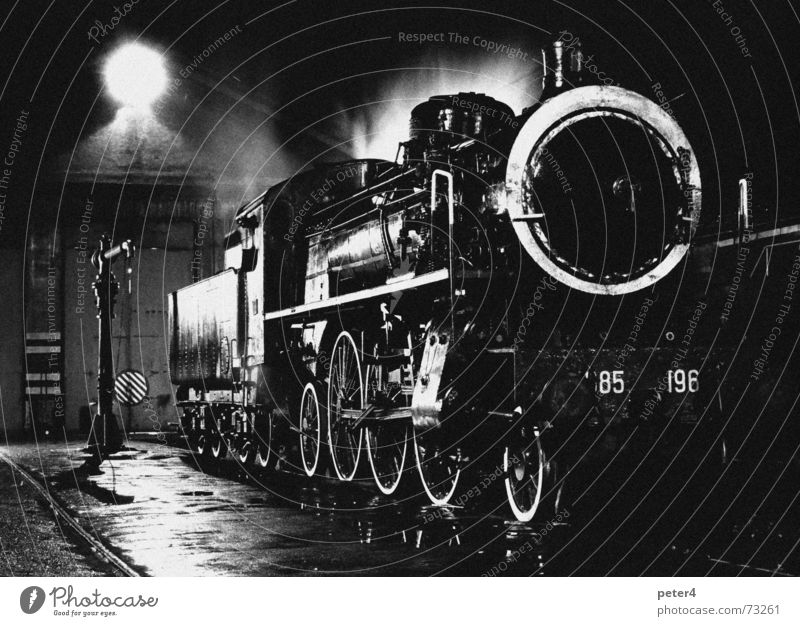 It was cozy Steamlocomotive Railroad Transport Railroad tracks Nostalgia Past Night Black & white photo