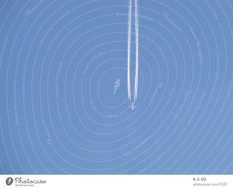 Detached Airplane Means of transport Transport Sky Blue Vapor trail