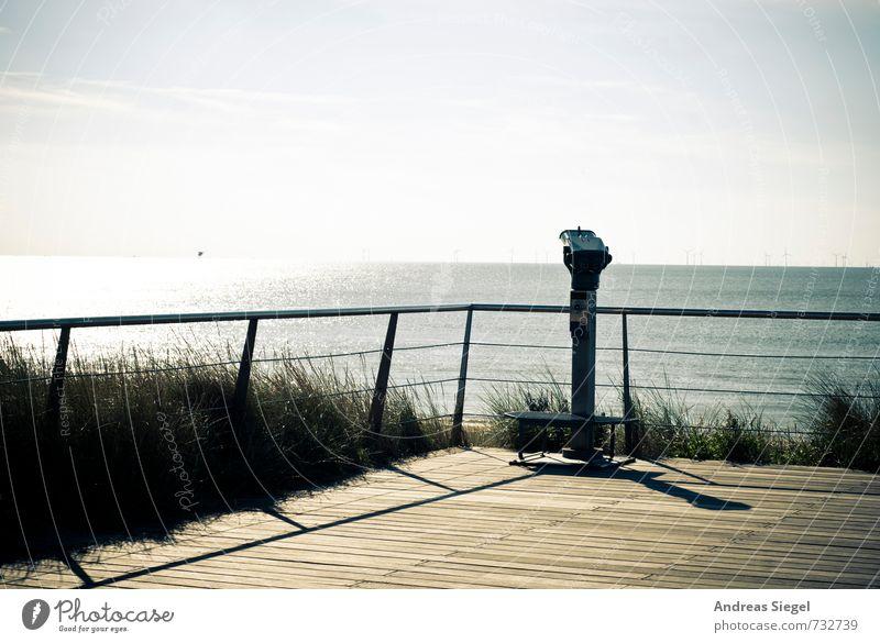 farsightedness Environment Nature Landscape Sky Horizon Summer Beautiful weather Grass Coast Ocean Telescope Binoculars Handrail Observe Discover Relaxation