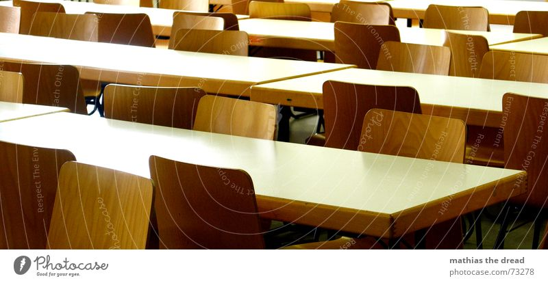 emptied Table Seating Hall Auditorium Empty Loneliness Sterile Wood Clean White Brown Chair chairs Backrest scholastic Row