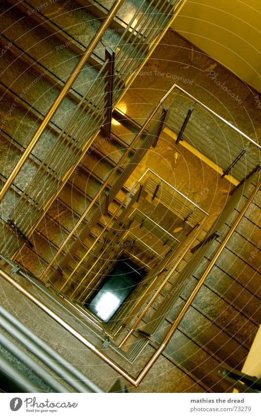 Yellow Empty Stairs Corner Threat Steel Story Deep Hallway Handrail Geometry Staircase (Hallway) Parallel Rectangle