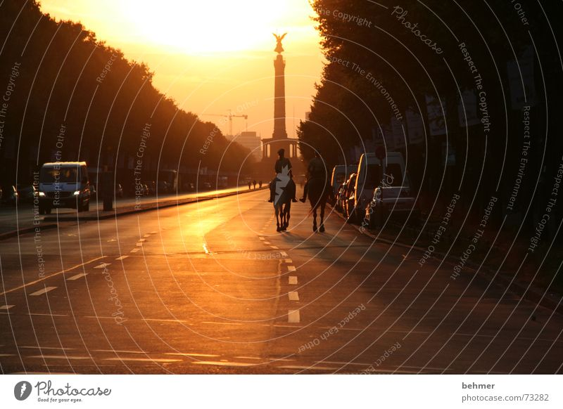 Lonesome Rider: On the way to the Victory Column Victory column Sunset Asphalt Berlin Street Germany Capital city