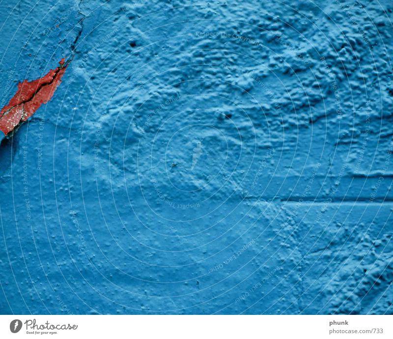 Old Blue Red Nutrition Wall (barrier) Broken Historic Crack & Rip & Tear Plaster