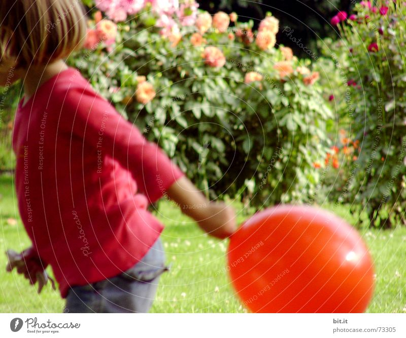 Funny, sweet girl runs rustic with red balloon in her hand in the garden in front of pink flowers in full bloom. Birthday child outside in nature is happy about a balloon for her party, holds it and runs with it over the green meadow.