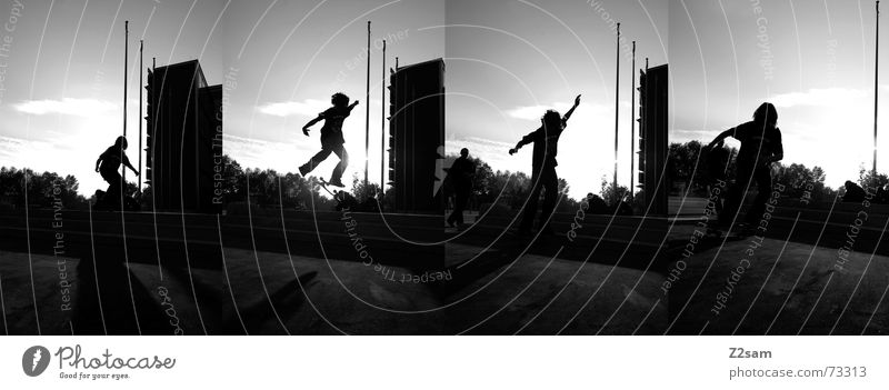Sun Sports Jump Style Stairs Action Skateboarding Dynamics Row Acrobatics Salto Trick Funsport Parking level Stunt Kickflip