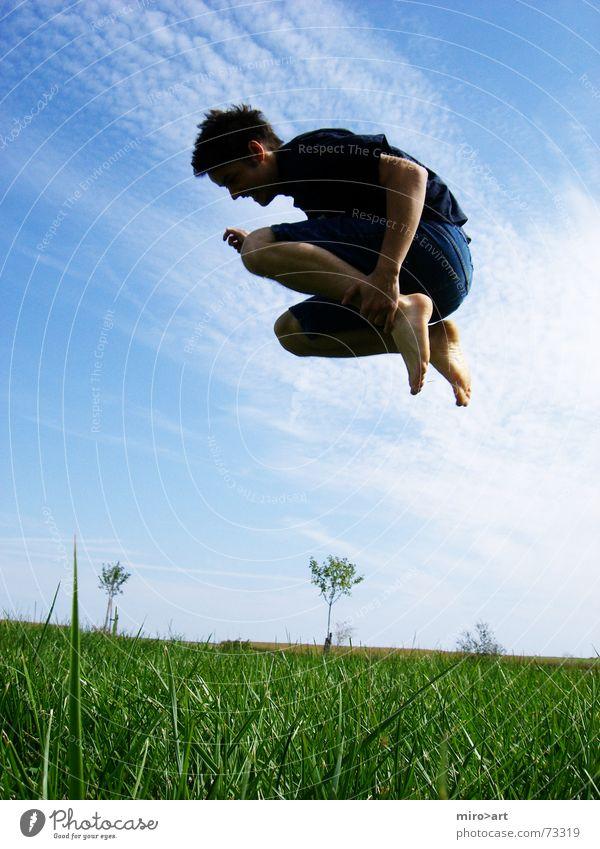 Sky Green Blue Joy Meadow Jump Grass Field Funny Free Crazy
