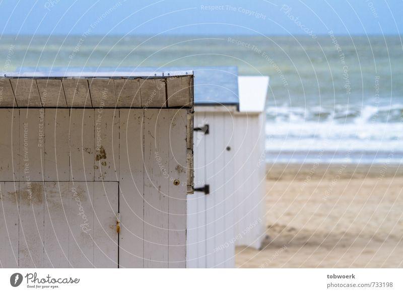 beach cabins Beach North Sea Baltic Sea Ocean Swimming & Bathing Relaxation Blue Colour photo Exterior shot Deserted Day