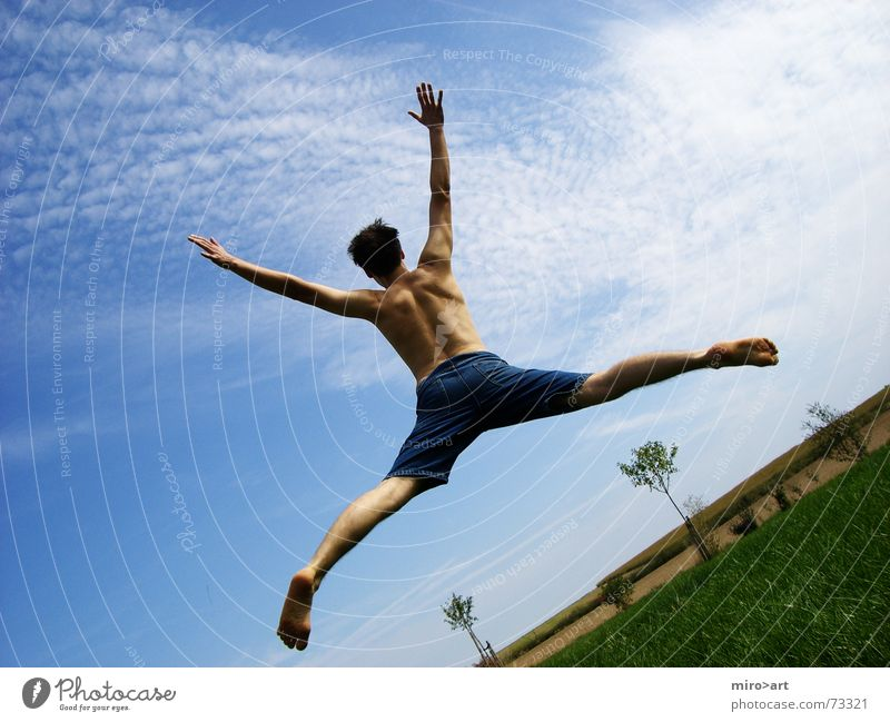 Sky Blue Green Beautiful Joy Life Grass Jump Free Happiness Clarity Enthusiasm Grade (school level) OK