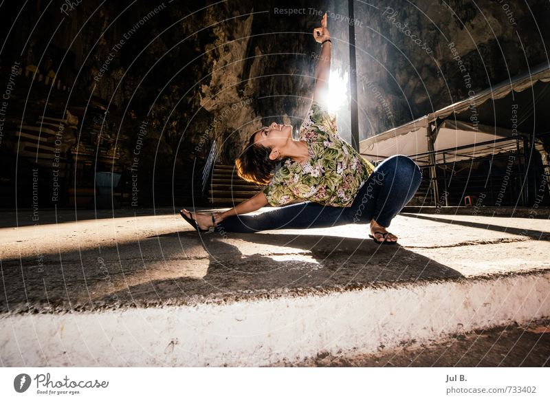Batu Caves Yoga I Human being Feminine Body Head Hair and hairstyles Face Theatre Nature Hot Moody Adventure Colour photo Interior shot Day Light