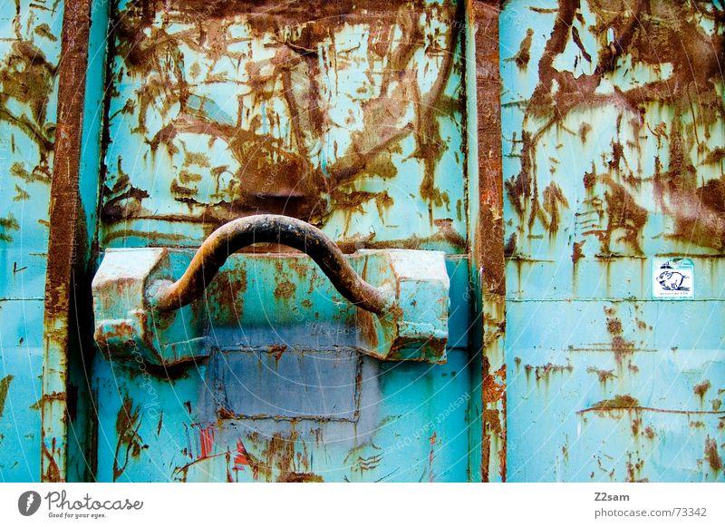 Blue Metal Logistics Trash Steel Rust Door handle Iron Container Keep Carry handle