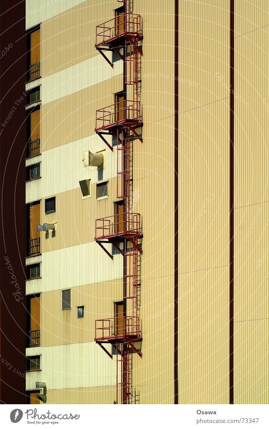 Building Brown Door Facade Stairs Industrial Photography Stripe Steel Balcony Manmade structures Ladder Warehouse Beige Hatch Opening