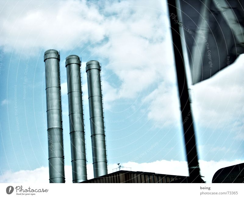 Tall Industry Beautiful weather Round Industrial Photography Flag Factory Navigation Diagonal Chimney Flagpole Parallel Aluminium Thermal power station
