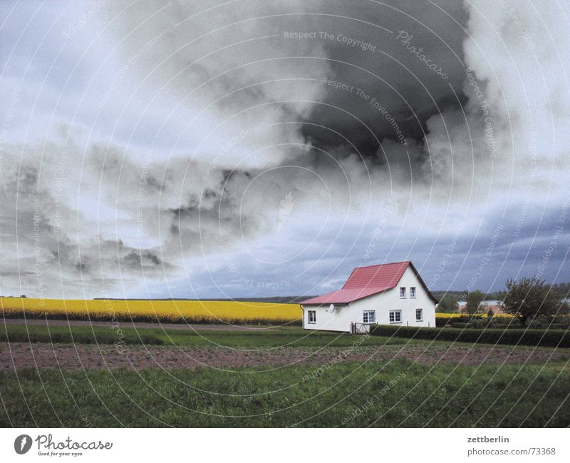 Weather Clouds Threat Summer Canola Field Agriculture House (Residential Structure) Farm Loneliness Individual Rügen Fear Panic Thunder and lightning