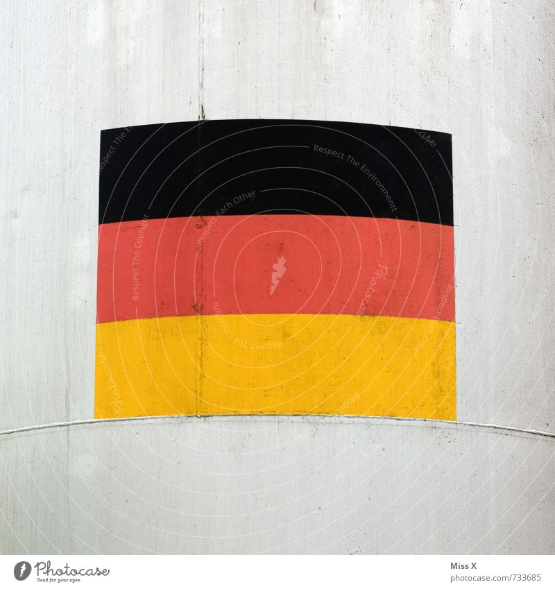 façade Football pitch Stadium Wall (barrier) Wall (building) Facade Concrete Sign Signs and labeling Gold Red Black German Flag Germany World Cup Colour photo