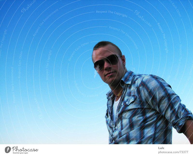 Brighter day v2 Sky Summer Model blue Guy man glasses sunglasses glare shine T-shirt pattern danny casual Cool (slang)