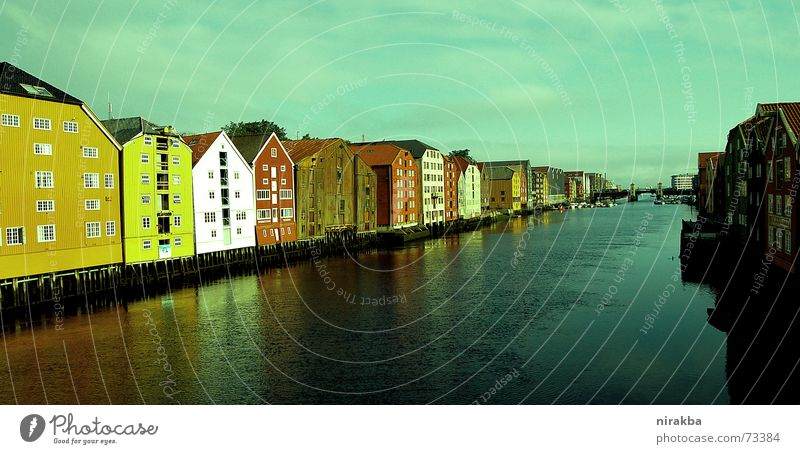 Trondheim stands on stilts Scandinavia House (Residential Structure) Housefront Reflection Norway Water Row Escape Perspective Sky Fjord Pole