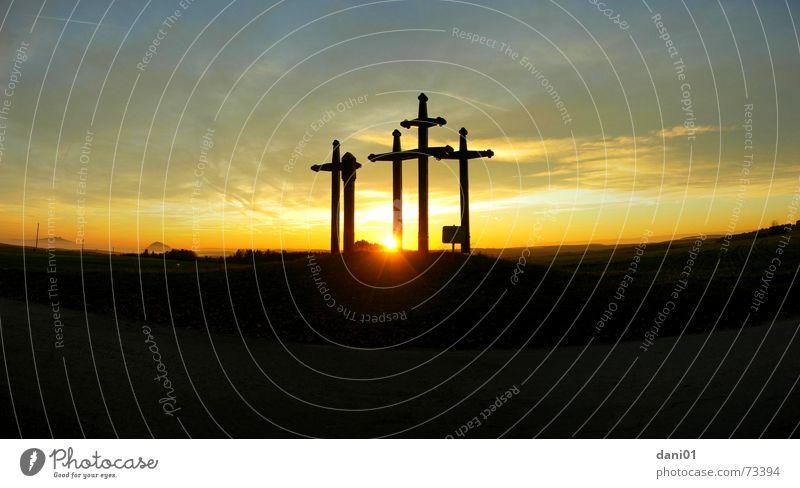 Sky Sun Summer Clouds Mountain Back Large Christianity Dusk Christian cross Panorama (Format) Epidemic Plague cross Tuttlingen district