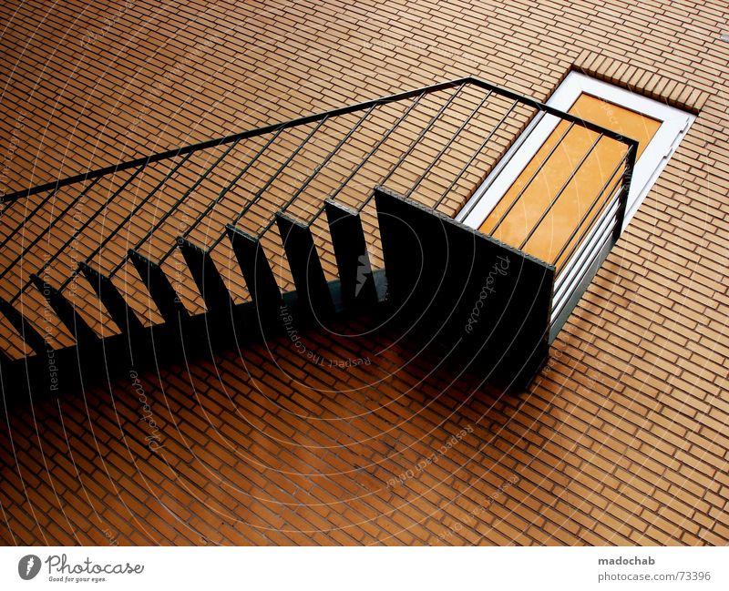 Wall (barrier) Orange Door Tall Crazy Perspective Stairs Tile Brick Illustration Upward Handrail False Downward