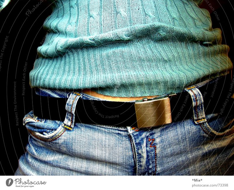 Woman Blue Black Dark Feminine Warmth Jeans Soft Physics Pants Cloth Stomach Turquoise Sweater Leather Belt