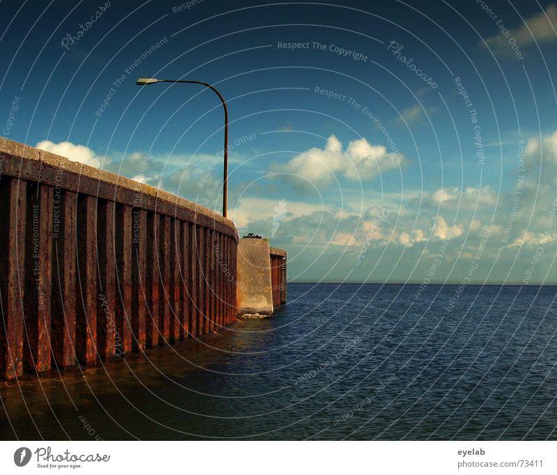 Sky Ocean Blue Clouds Lamp Wall (barrier) Lake Watercraft Hope Harbour Longing Steel Rust Navigation Wanderlust Ferry
