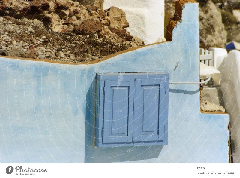 Blue Wall (building) Wall (barrier) Crazy Safety Electricity Box Craft (trade) Ruin Greece Santorini Wooden box