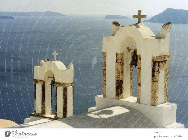 Church on the Abyss Religion and faith Multiple Santorini Volcanic crater Caldera Bell Deities Tall Deep Vantage point Horizon Clergyman White Ocean Lake Greece
