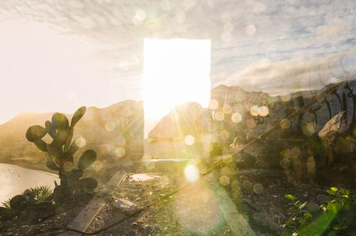 Sky door with cactus Environment Nature Landscape Beautiful weather Rock Mountain Exceptional Surrealism Death Dream Religion and faith Heaven Hope Ray of hope