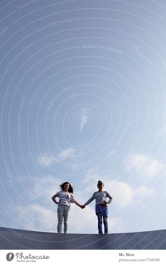 Human being Child Sky Girl Environment Feminine Wall (barrier) Happy Friendship Together Lifestyle Infancy Stand Beautiful weather Touch Posture