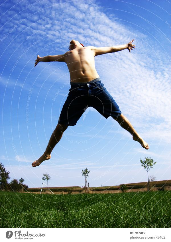 Sky Blue Green Beautiful Summer Meadow Emotions Grass Happy Jump Body Free