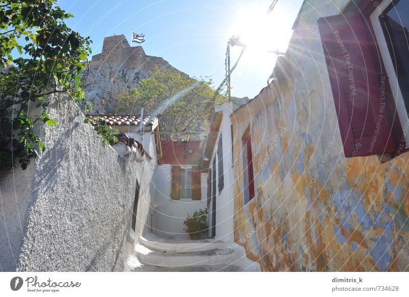 narrow alleyway under the acropolis Vacation & Travel Tourism Sun House (Residential Structure) Sky Spring Weather Hill Rock Town Architecture Monument Street