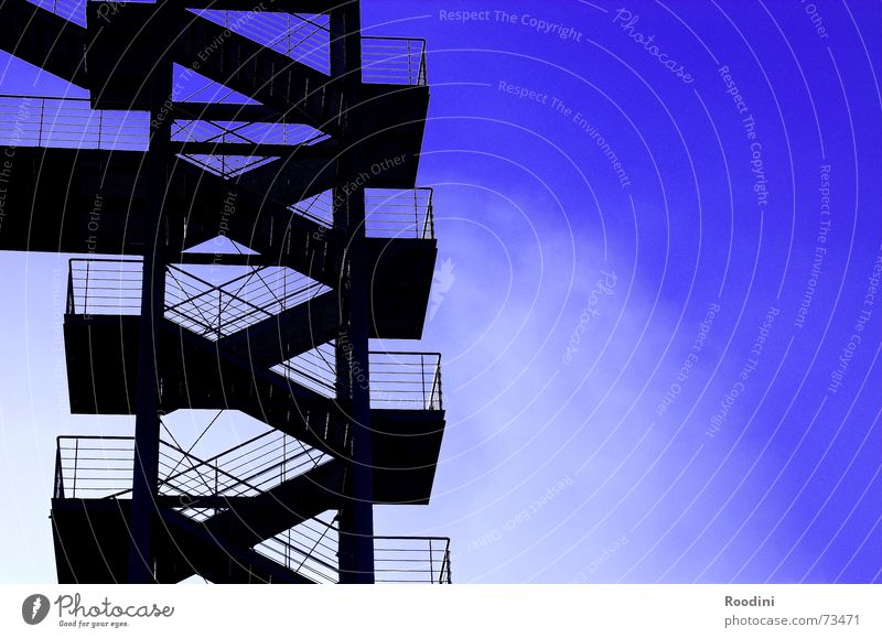 Sky Clouds Above Building Metal Weather Stairs Modern Steel Story Upward Handrail Go up