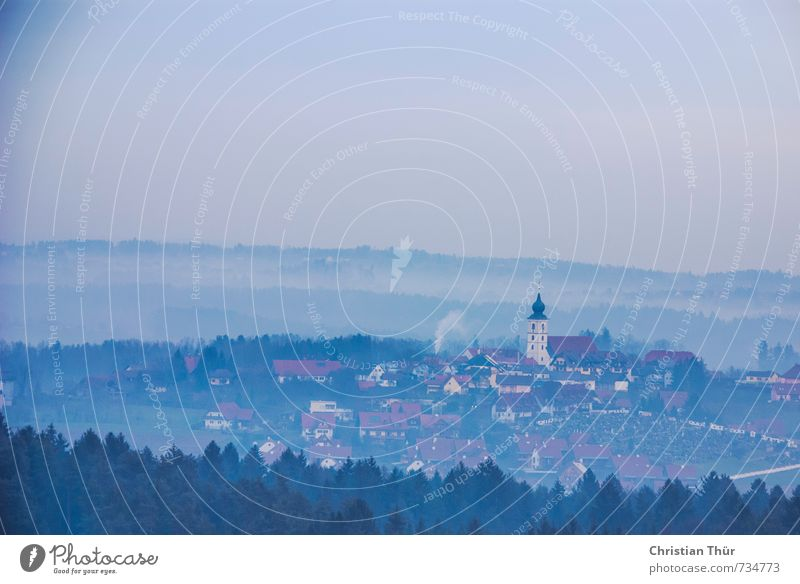 Stainz in the fog Environment Nature Landscape Cloudless sky Autumn Bad weather Fog Tree Small Town Old town Skyline House (Residential Structure) Church