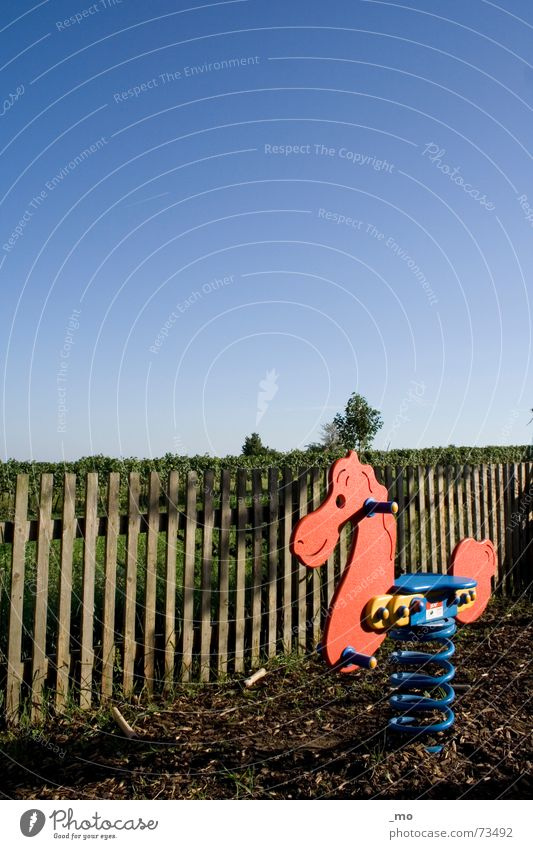 Sky Blue Loneliness Playing Wood Infancy Horse Toys Fence Wooden board Swing Austria Playground Undisturbed Equestrian sports Peaceful