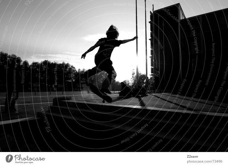 Sun Sports Jump Style Stairs Action Skateboarding Dynamics Salto Trick Funsport Parking level Stunt Kickflip
