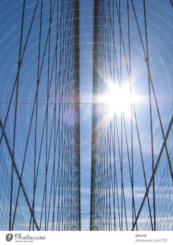 over the bridge New York Brooklyn Back-light Steel Grating Bridge Blue Net