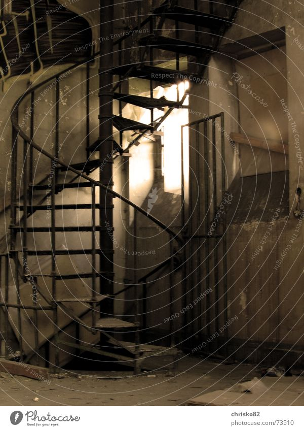spiral staircase Iron Steel Story Stairs Handrail Sepia Industrial Photography Warehouse