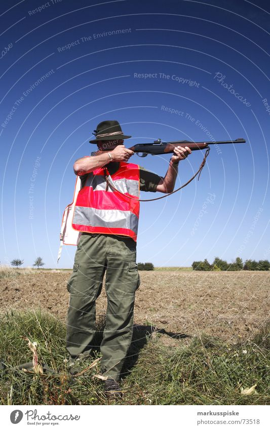 the second hunter Hunter Rifle Shoot Weapon Field Hunting Shot Archer Sky Beautiful weather Signs and labeling