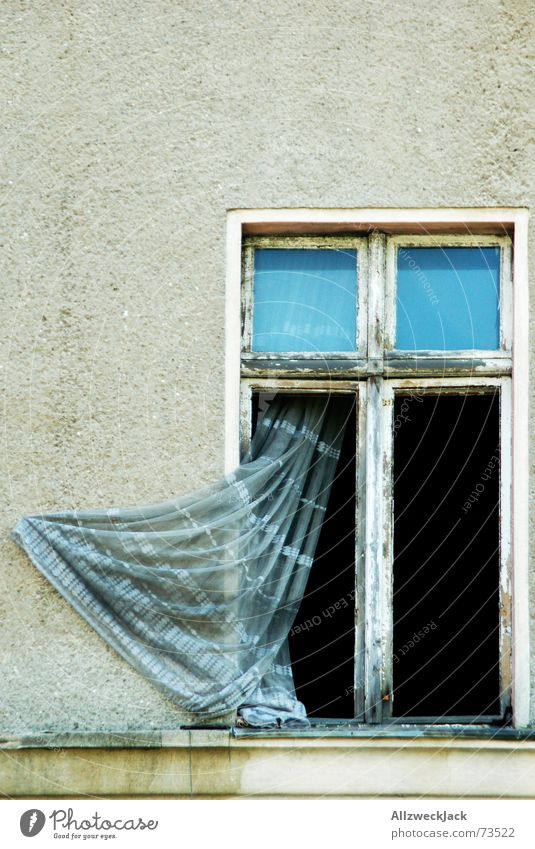 Old House (Residential Structure) Wall (building) Window Derelict Plaster Curtain Yellowed Back draft Ventilate