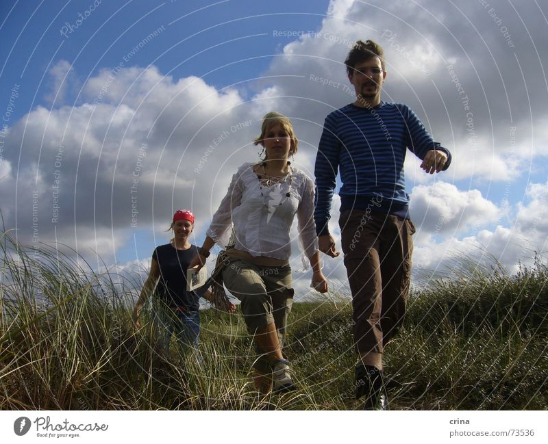 Pirates on the way 3 Going Action Territory Clouds Headscarf Walking Beach dune Denmark Blue