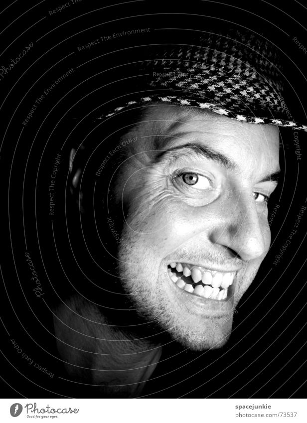 Man with hat Portrait photograph Freak Fear Alarming Dark Black Show your teeth Evil Crazy Face Hat Human being Black & white photo Teeth